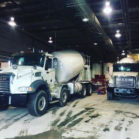Concrete trucks parked
